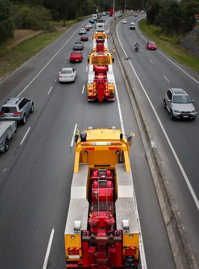 Truck convoy showing barnes fleet